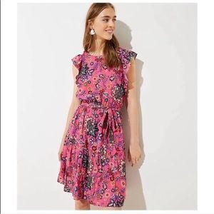 LOFT    Mixed Spring Floral Tie Waist L